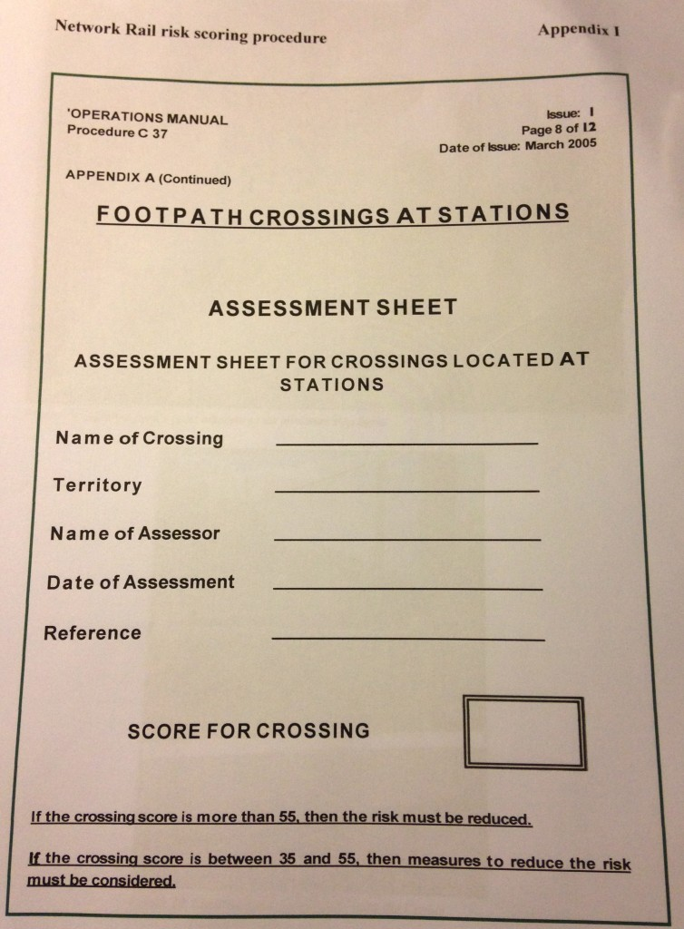 Level Crossing Risk Assessment form