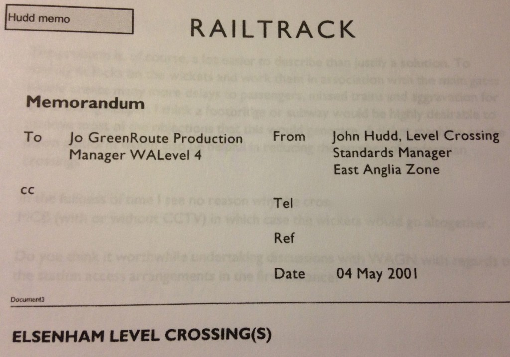 Header of John Hudd's May 2001 Elsenham memo