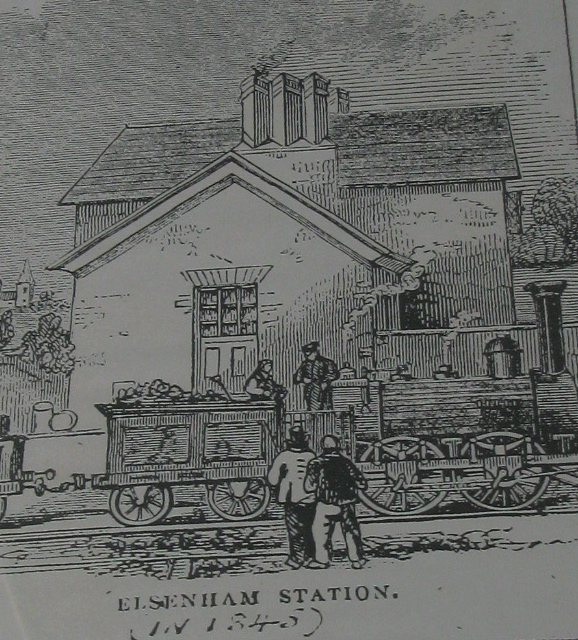 Elsenham's first station in 1845 (This image can be seen on booking office wall)