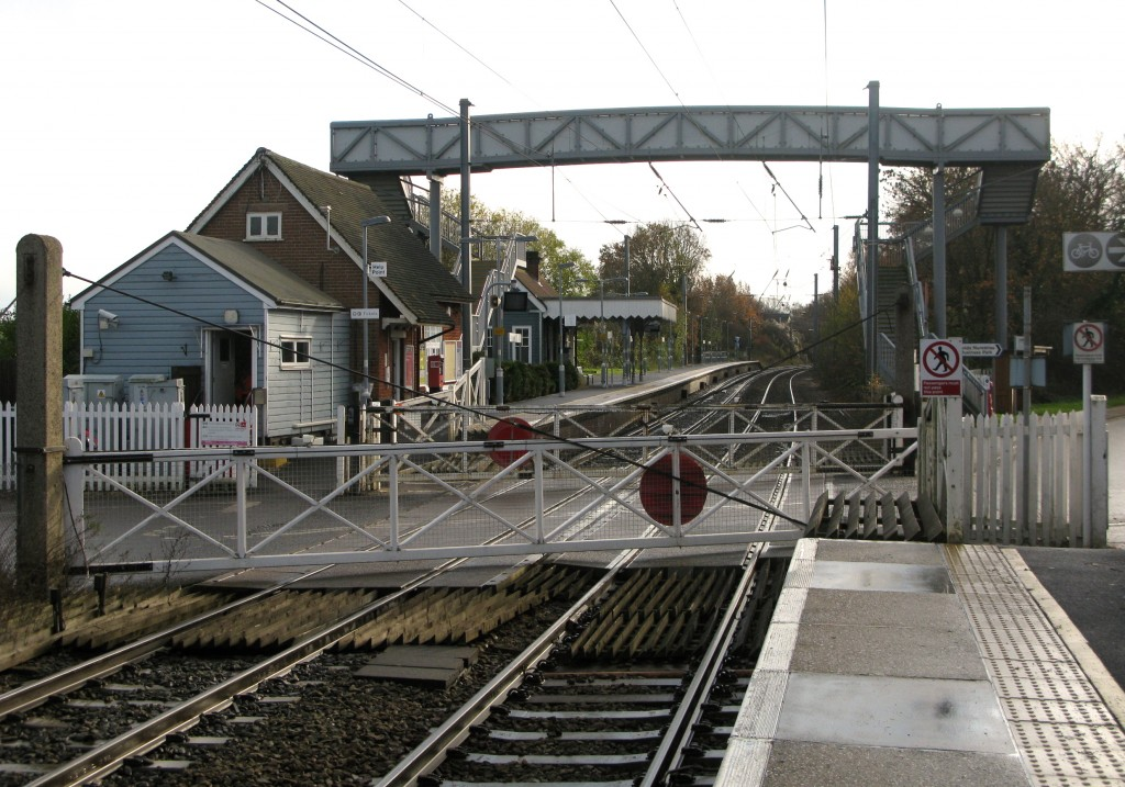 Elsenham station's footbridge in 2013 over Up platform, as viewed from Down platform (Photo © London Intelligence)
