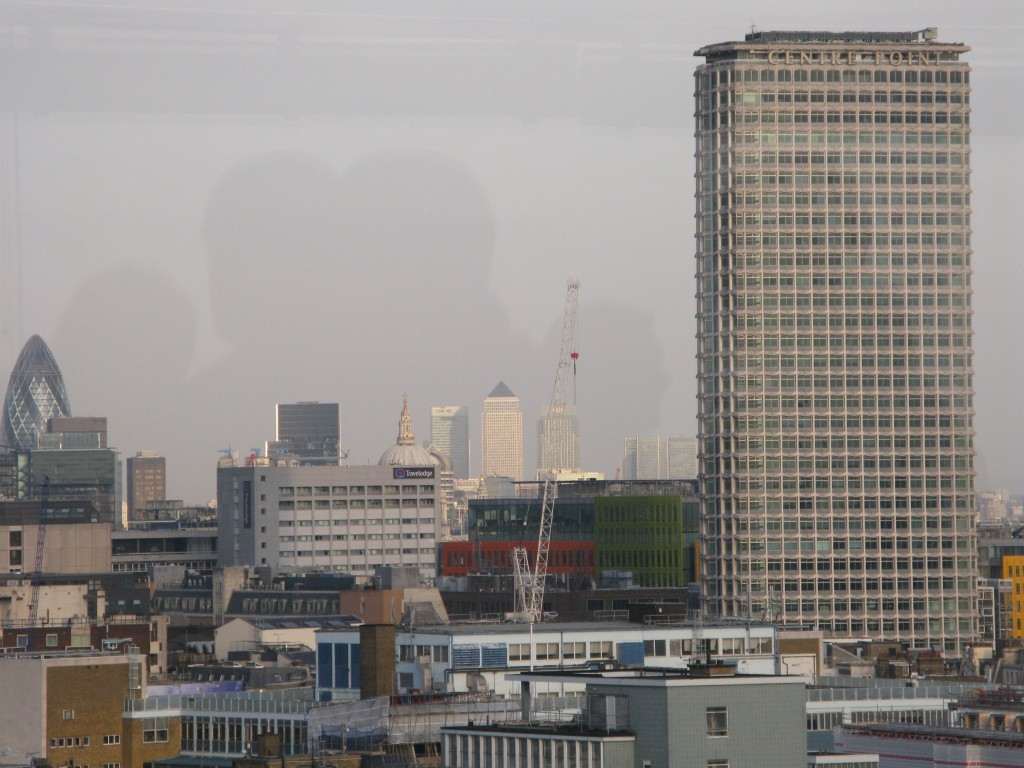 Centre Point (right), Canada Tower (distant centre) and 'The Gherkin' (right). © London Intelligence