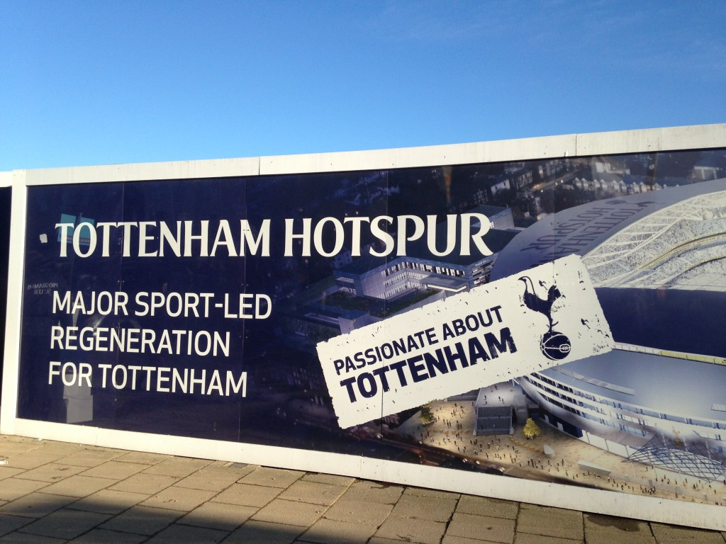 Hoarding by Spurs new stadium site © London Intelligence 2014
