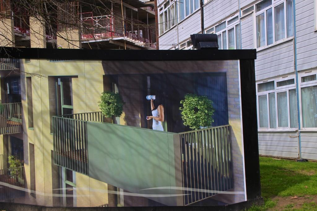 Marketing hoarding at the West Hendon estate © Paul Coleman, London Intelligence 2015