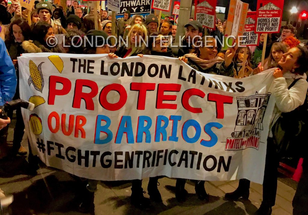 Barriers & Barrios: South London residents protest against developer Delancey's plan to gentrify a market and shopping centre with many Latin American traders © Paul Coleman, London Intelligence ®