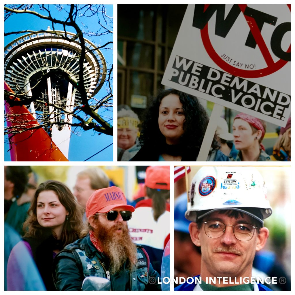 London Intelligence Gallery: Seattle as a city was unprepared for the coalition of protest that greeted the city's decision to host the WTO (© Paul Coleman, London Intelligence).